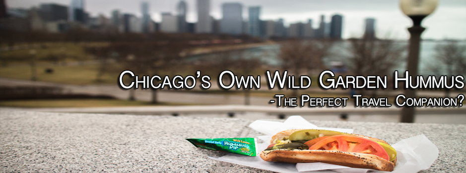 Wild Garden Hummus with Chicago hotdog in front of skyline