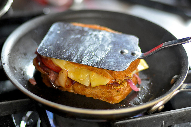 grilled cheese in frying pan